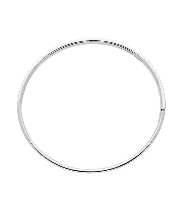 Best basics Zilveren holle slavenband dop - vierkant - 5 mm - 60 mm