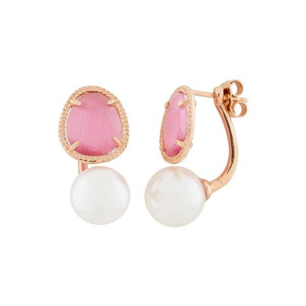 Zilveren rosé-plated earjackets - parel
