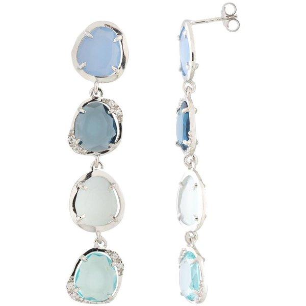 Zilveren oorhangers  - zirkonia - blauwtinten