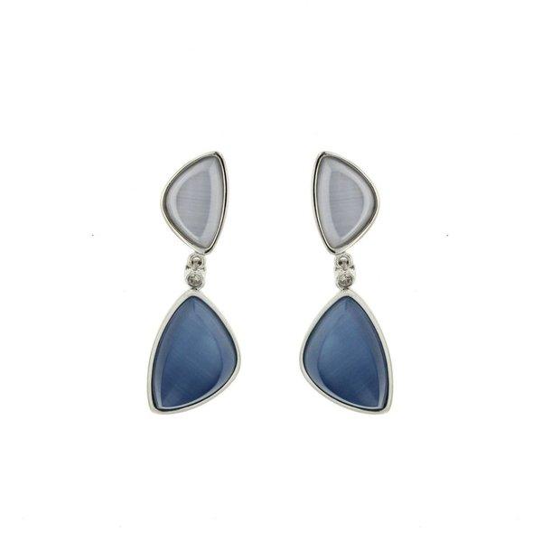 Zilveren oorhangers - blauwgrijze cat's eye