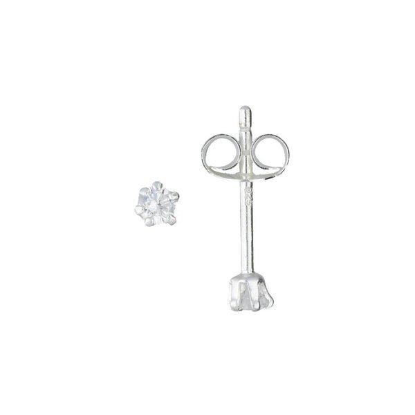 Zilveren solitaire oorknopjes - zirkonia - 2 mm