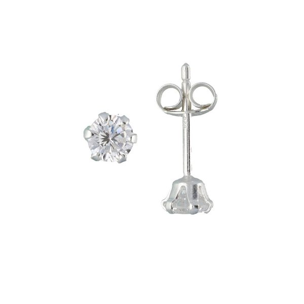 Zilveren solitaire oorknopjes - zirkonia - 4 mm
