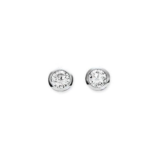 Zilveren solitaire oorknopjes - zirkonia - 5 mm