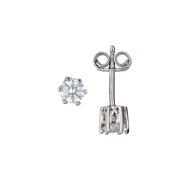 Zilveren solitair oorknoppen - zirkonia - 4 mm
