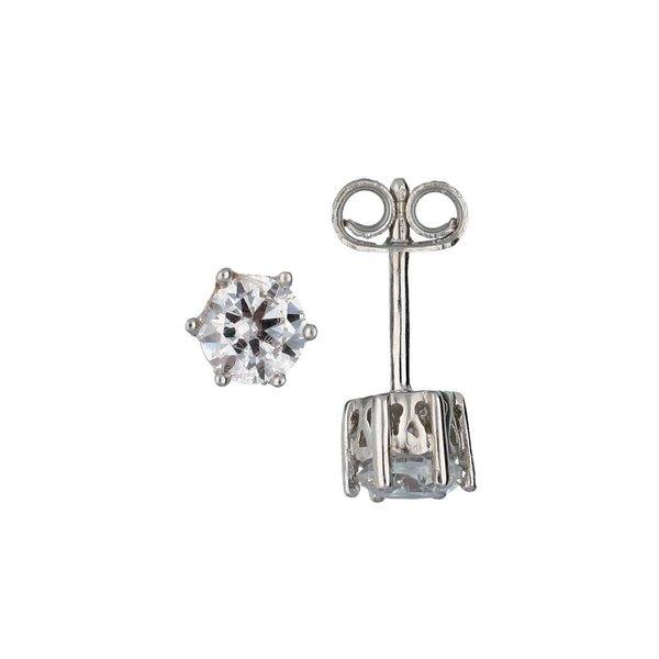 Zilveren solitair oorknoppen - zirkonia - 5mm