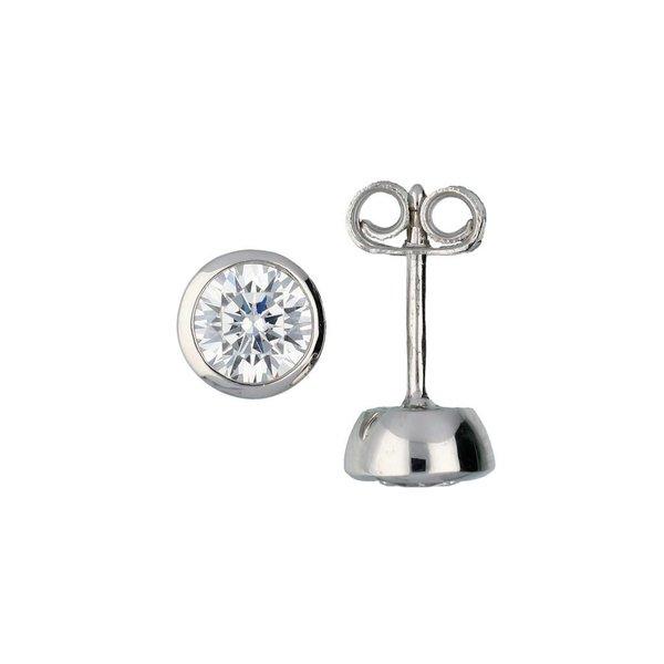 Zilveren solitair oorknoppen - zirkonia - 5.5 mm