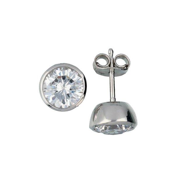 Zilveren solitair oorknoppen - zirkonia - 7 mm