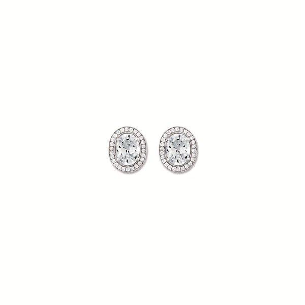 Zilveren oorknopjes met steen - ovaal - zirkonia