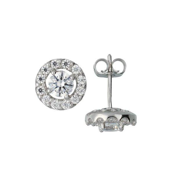 Zilveren oorknopjes met steen - rond - zirkonia