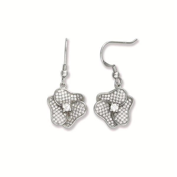 Zilveren oorhangers - bloem - pave zirkonia