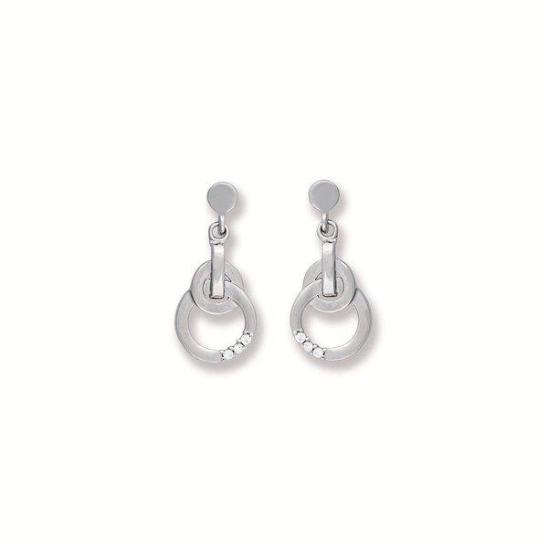 Zilveren oorhangers - rond met zirkonia - 10 mm