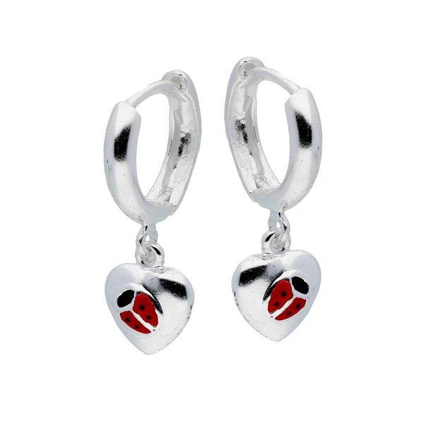 Zilveren klapcreolen - lieveheersbeestje in hart