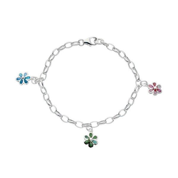 Zilveren bedelarmband - jasseron - pastel bloem