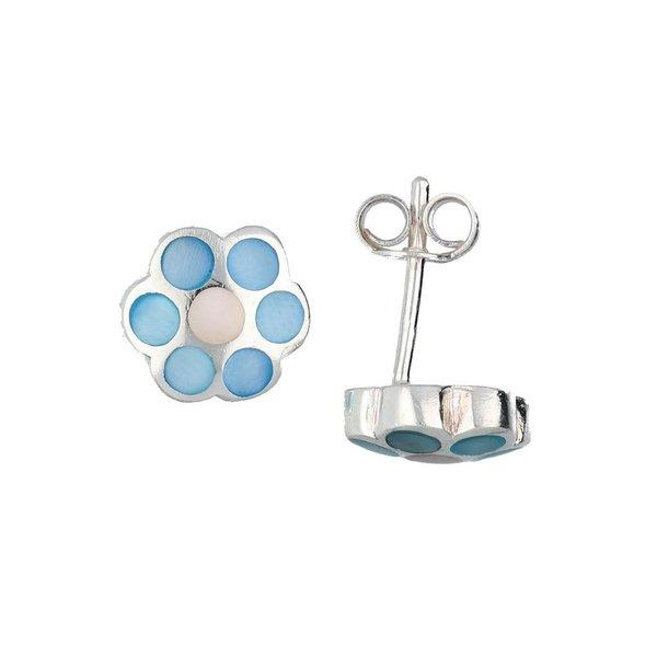 Zilveren kinderoorknopjes - blauwe bloem