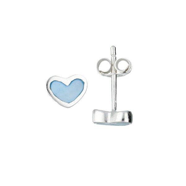 Zilveren kinderoorknopjes - blauw hart