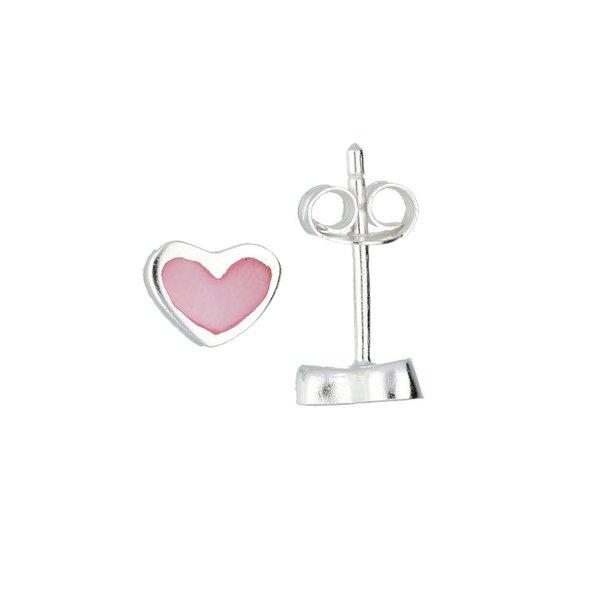 Zilveren kinderoorknopjes - roze hart