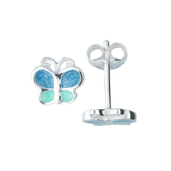 Zilveren kinderoorknopjes - blauwe discovlinder