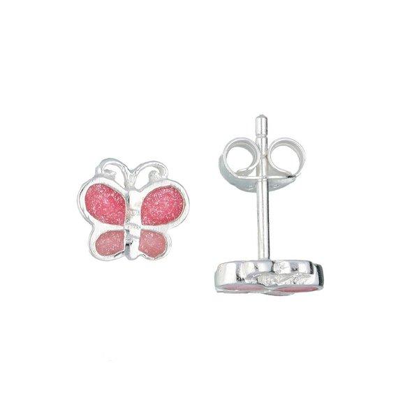Zilveren kinderoorknopjes - roze discovlinder