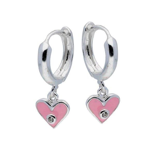 Zilveren klapcreolen - roze hart met zirkonia