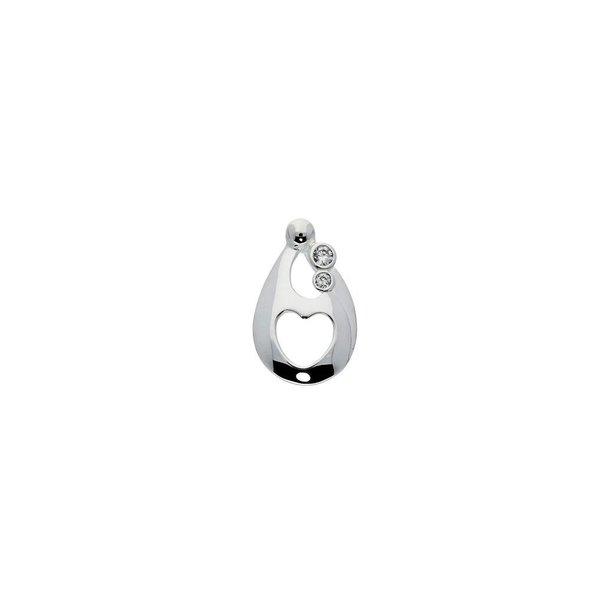 Zilveren hanger - familiehanger 2 zirkonia's