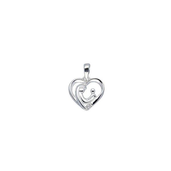 Zilveren hanger - familiehanger - hart- 1 zirkonia