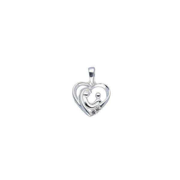 Zilveren symboolhanger - familypendant  2 zirkonia