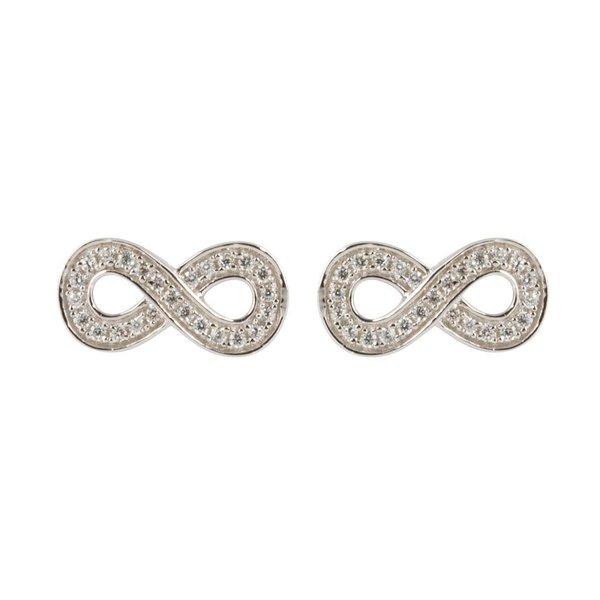 Zilveren symbooloorknopjes - infinity - zirkonia