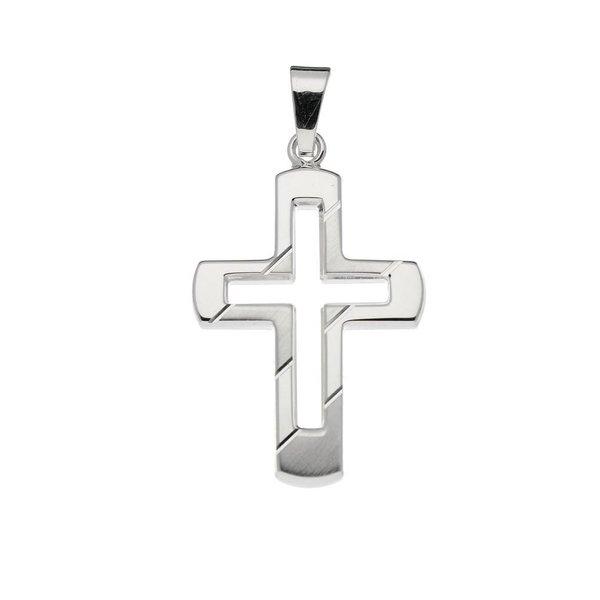 Zilveren kruisje - 26.5x17mm - bewerkt - massief