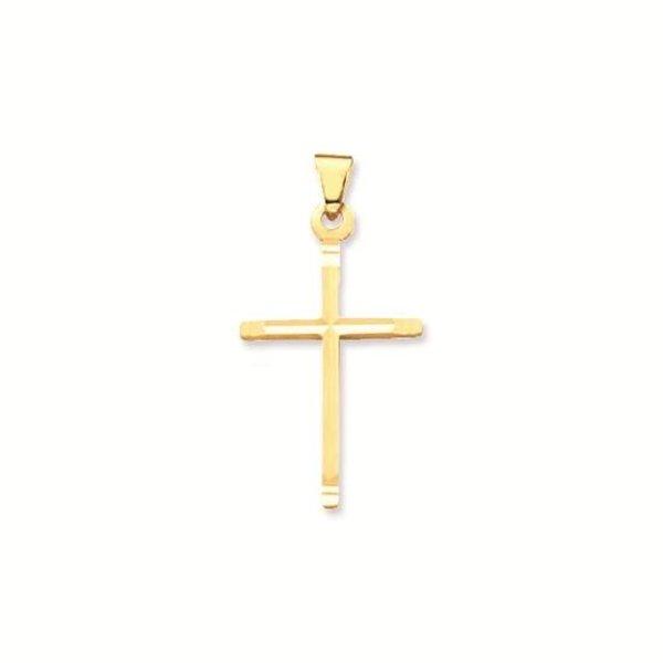 Gouden kruisje - 26 x 12 mm - massief - bewerkt
