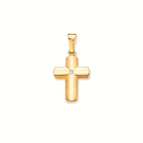 Gouden kruisje - 23 x 11.5 mm - glanzend - diamant