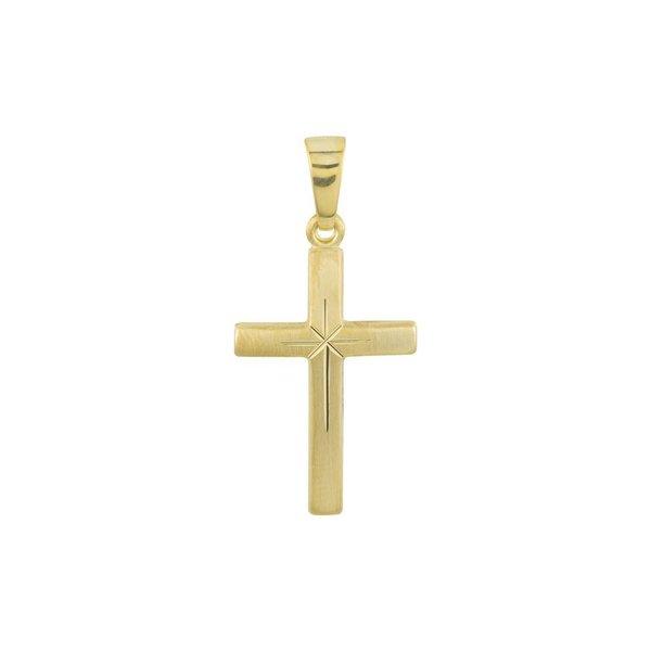 Gouden kruisje - 25 x 12 mm - mat - hol