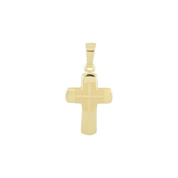 Gouden kruisje - 23 x 12 mm - mat glanzend - hol