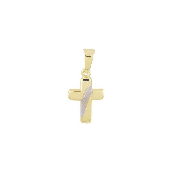Gouden kruisje - 19 x 9 mm - bicolor