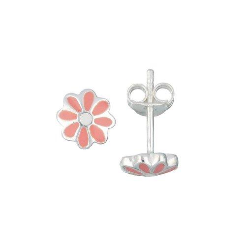 Zilveren kinderoorknopjes - roze madelief