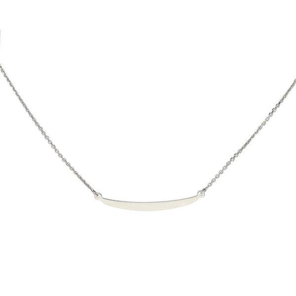 Zilveren gerodineerd collier - balkje