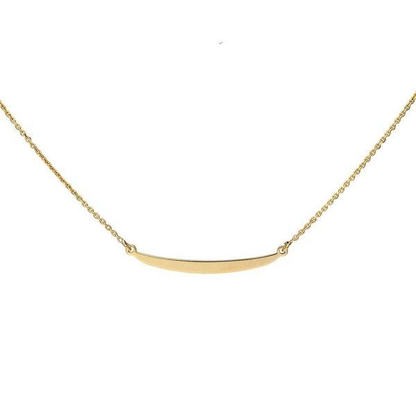 Zilveren gold plated collier - anker -  balkje