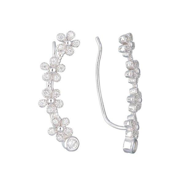 Zilveren gerodineerde earcuffs - bloemen