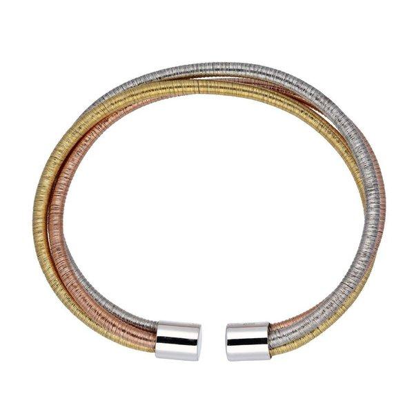 Zilveren klemarmband - tricolor - 6mm breed - 56mm