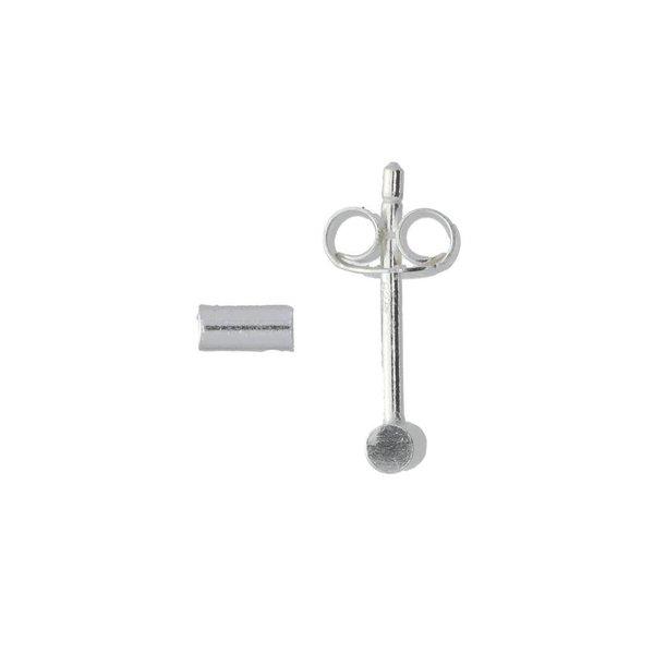 Zilveren symbooloorknopjes - buisjes rond