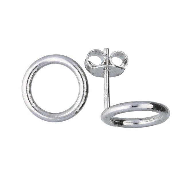 Zilveren oorknoppen - open rondje