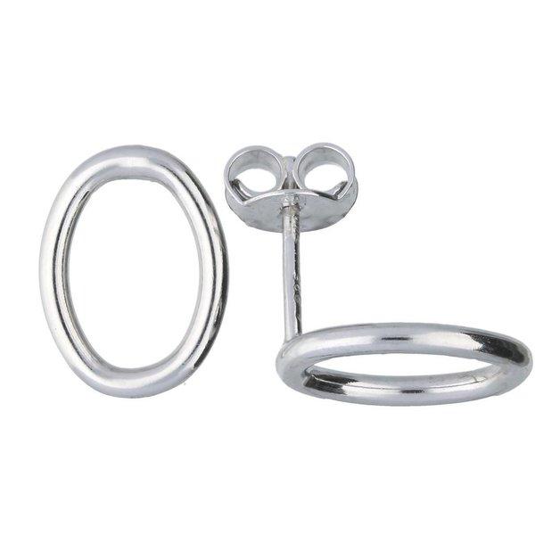 Zilveren oorknoppen - open ovaal