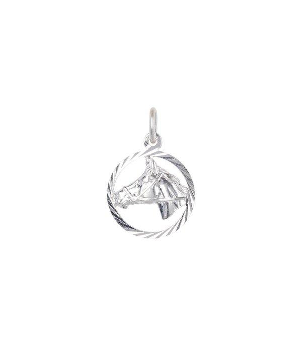 Best basics Zilveren bedel - paardenhoofd in rand -