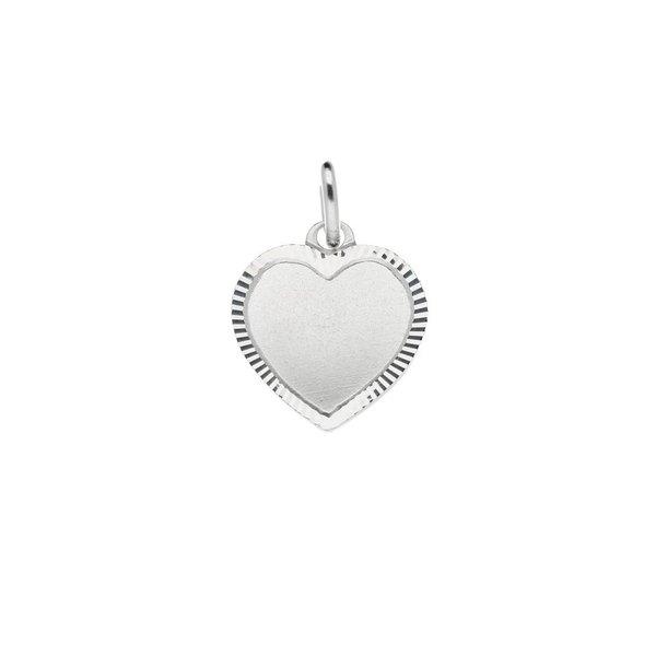Zilveren graveerplaatje - 13 mm - hart met rand