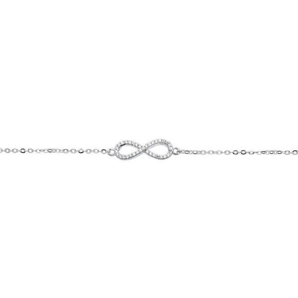 Zilveren symboolarmband - infinity - zirkonia