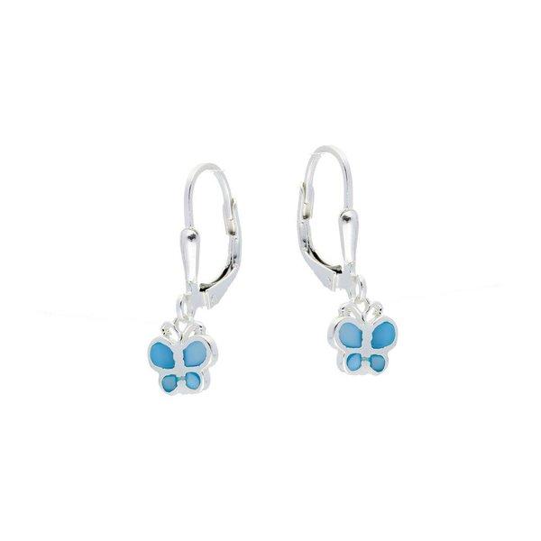 Zilveren kinderoorhangers - blauwe vlinders