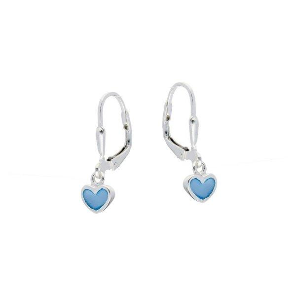 Zilveren kinderoorhangers - blauwe harten