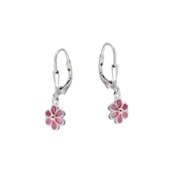 Zilveren kinderoorhangers - roze bloem