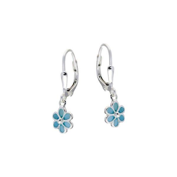 Zilveren kinderoorhangers - blauwe bloem