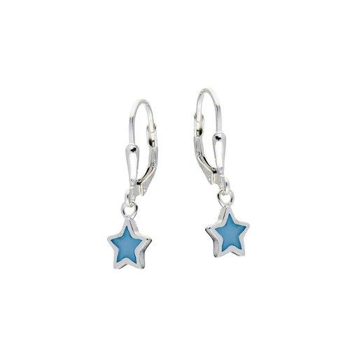 Zilveren kinderoorhangers - blauwe ster