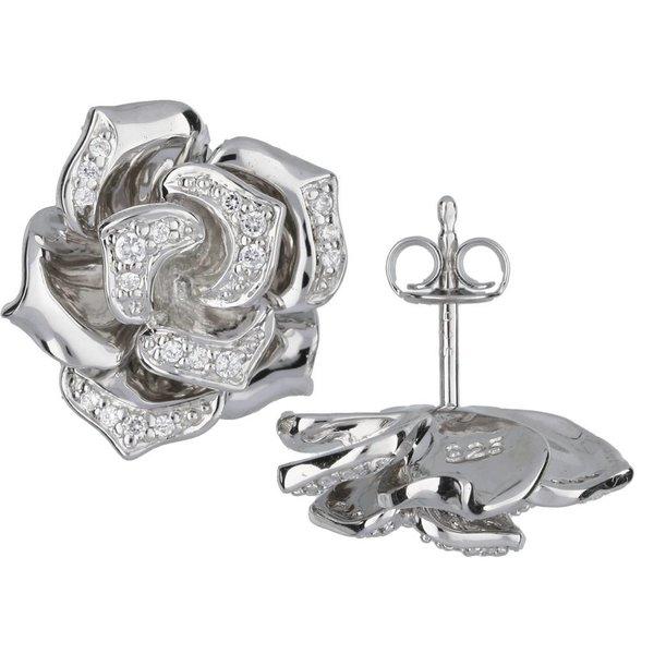 Zilveren symbooloorknopjes - roos - zirkonia